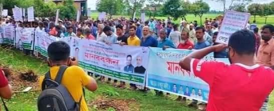 সুনামগঞ্জে সেতু নির্মাণের দাবীতে মানববন্ধন